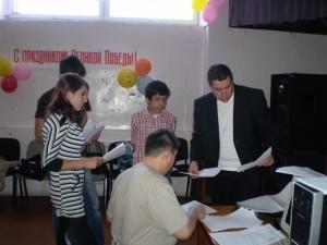 Приём экзаменационных работ у ребят сдававших вступительные экзамены в ТПУ.
